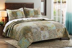 Greenland Home 3 Piece Paisley Dream Quilt Set, King