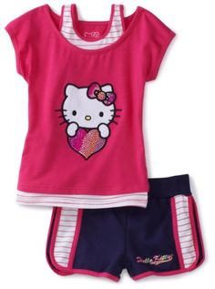Hello Kitty Girls Toddler Short Set With Mesh Applique And Rhinestones Hello Kitty Clothes, Hello Kitty Baby, Toddler Outfits, Girl Outfits, Girls 4, Flower Dresses, Outfit Sets, To My Daughter, Shorts