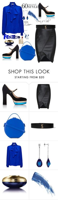 """""""Black & Blue"""" by kercey ❤ liked on Polyvore featuring Valentino, Nico Giani, Yves Saint Laurent, IDA, Baccarat, Guerlain, Eyeko and Burberry"""