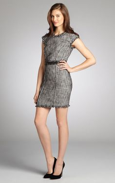 REBECCA TAYLOR Black And White Tweed Lambskin Trimmed Cap Sleeve Dress (http://bluef.ly/r6sqj)