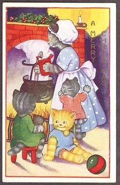 Merry Christmas Mother cat & kittens postcard 192?