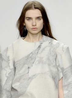 Marble Print Fashion with soft grey and stone coloured marbled pattern // Jessie Hands Kenzo, Moon Silhouette, Central Saint Martins, Fashion Details, Fashion Design, Marble Print, Marble Pattern, Fabric Manipulation, Pants Pattern