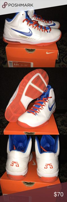 Kd V Home/ Oklahoma City You are looking at a pair of kd V(5) home from 2013. Bought them brand new in 2016 and rarely wore them. They have normal wear creases and the sidebar nylony material has yellowed over time. They are great basketball shoes and will make your outfit flash💡Comes with original box. Nike Shoes Sneakers