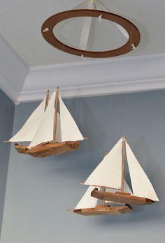 Sailboat Nautical Nursery Mobile - Wood and Fabric