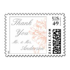Coral Peonies Vintage Wedding Thank You Postage with gray text and personalized with your Mr. and Mrs. married name. Beautiful floral illustration perfect for a summer wedding in a vintage or country wedding theme which still has elements of sophistication and clean elegant design