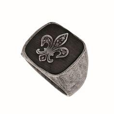 Ring Silver White Fleur De Lis with Black Diamond