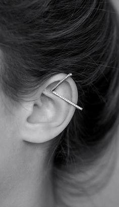ADI LEV | Sterling Silver Geometric Ear Cuff with Cubic Zirconia