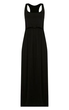 Womens Black Jersey Elasticated Waist Racer Back Maxi Dress Size S/M 12/14 New Flatform Trainers, Types Of Sleeves, Summer Dresses, Model, How To Wear, Black, Style, Fashion, Swag