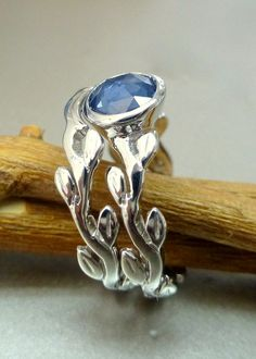 Rose cut blue sapphire engagement ring set. 14k by ValerieKStudio