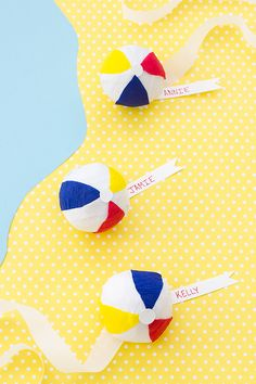 DIY Beach Ball Surprise Balls // made with crepe paper, and small treats/toys inside. Something fun for kids to make for/at the beach?