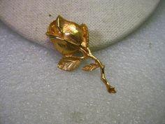Vintage Gold Tone Single Long Stem Rose Brooch, 1960-1970's.   #Unbranded