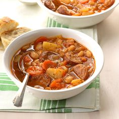 Hearty Sausage Soup Recipe -My family loves a big bowl of soup like this one brimming with sausage and veggies. We have it with hot rolls on Christmas Day. Slow Cooker Soup, Slow Cooker Recipes, Crockpot Recipes, Soup Recipes, Cooking Recipes, Gf Recipes, Chili Recipes, Recipies, Bowl Of Soup