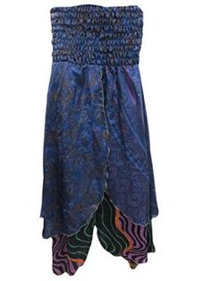 Beach Dress Navy Blue Bohemian Printed Vintage Silk Sari Maxi Skirt