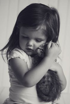 "Love …… HER MAMA TOLD HER NOT TO HOLD THE KITTY TOO TIGHTLY……""IS THIS O.KAY, MAMA"" (??)………ccp"