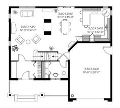 Bungalow European Traditional House Plan 65294 Level One