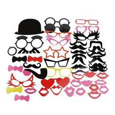Fun 50 Pcs Photo Booth Happy Birthday Prop DIY Mr Mrs Glasses Mask Party Accessories Photography Kid Wedding Decoration