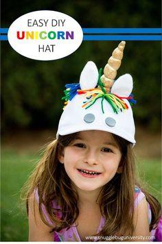 Snugglebug University: Make Your Own Unicorn Hat using a plain white baseball hat. Unicorn Party Hats, Unicorn Hat, Unicorn Costume, Crazy Hat Day, Crazy Hats, Mother Daughter Crafts, Make Your Own Hat, Mad Hatter Costumes, Funny Hats