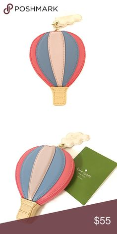 Kate Spade Hot Air Balloon Coin Purse BNWT Kate Spade Get Carried Away Hot Air Balloon Coin Purse. Smooth leather with matching trim. Captial kate jacquard lining. Gold foil printed kate dpade new york signature. Cloud keyfob. kate spade Bags Wallets