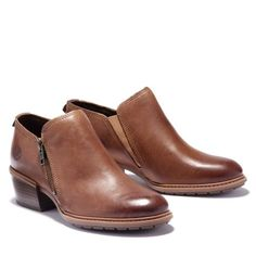 Chunky Heel Ankle Boots, Clog Boots, Chunky Heels, Timberland Store, Timberlands Women, Brown Boots, Chelsea Boots, Leather, Women's Shoes