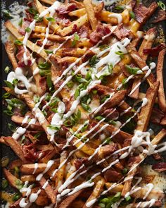 Bacon Cheddar Ranch Fries - What's Gaby Cooking Bacon Ranch Dip, Tahini, Whats Gaby Cooking, No Cook Appetizers, Veggie Side Dishes, Man Food, Lunches And Dinners, Potato Recipes, No Cook Meals