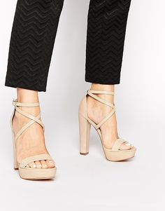 a7ab252b2794 Asos Windsor Smith Mariah Nude Leather Platform Heeled Sandals Nude Strappy  Heels