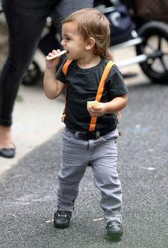toddler street style - Anais & I Boys t-shirt, Acoustic pants, vintage belt and Venettini loafers.