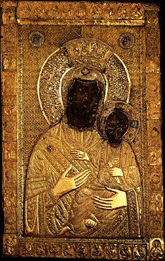 Theotokos Ktitorisa or Vimatarisa - Holy m. Byzantine Icons, Byzantine Art, Orthodox Catholic, Black Jesus, Black History Facts, Early Christian, Madonna And Child, Orthodox Icons, Dark Ages