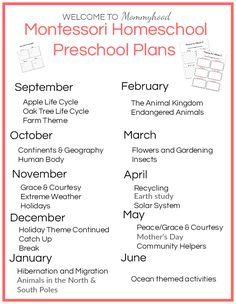 Montessori at Home Preschool Plans - Free Unit Study Printable (4-5 yrs)
