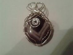 Chevron Amethyst Tear Drop Pendant Wrapped in Sterling Silver by MamaGotRocksJewelry on Etsy