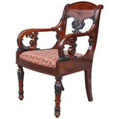 View this item and discover similar for sale at - This finely carved mahogany armchair is from the century. Made in Russia around 1870 the chair is further enhanced with a verde antique paint work Furniture Styles, New Furniture, Furniture Design, Modern Armchair, Modern Chairs, House Paint Interior, Interior Design, Circular Table, Love Your Home