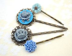 Items similar to Christmas sale Gray and blue resin flower bobby pin head Woman accessories hair rose mum bridesmaids wedding vintage filigree on Etsy Blue Hair, Hair Pins, Bobby Pins, Art Pieces, Hair Accessories, Trending Outfits, Unique Jewelry, Handmade Gifts, Hair Styles