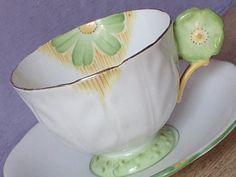 Vintage 1920's Aynsley flower handle tea cup, Antique teacup and saucer, English tea cup, Antique china tea cup, Yellow and green tea cup