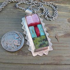 Necklace Vintage Stering Mexican Gemstone Red Coral Pink Opal Blue and Green…