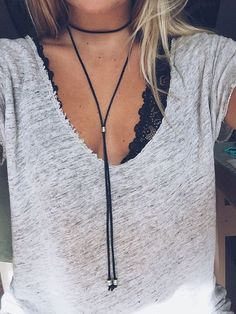 Black Wrap Choker Necklace at MyBodiArt.com - Cute Comfy Workout Outfits