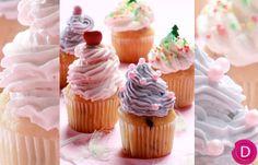 Cupcakes βανίλιας με 2 διαφορετικά γκλασαρίσματα (ροζ και μοβ) | Dina Nikolaou