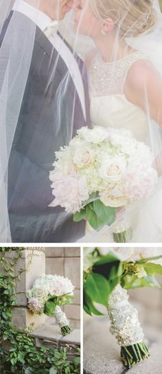 Breathtaking Wedding Bouquet: Gorgeous white and blush bouquet of peonies, roses and hydrangea. Click to blog for more gorgeous bouquet ideas. http://www.confettidaydreams.com/breathtaking-wedding-bouquets/
