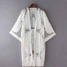 White Embroidery Swim Cover Ups, Beach Cover Up, Ladies Swimwear, Shop