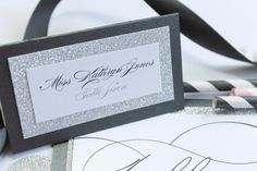 NEW Glamorous Madison Collection Wedding Party Escort Place Cards with glitz and glitter.  Gorgeous!  Is there anything better than glitter...!?