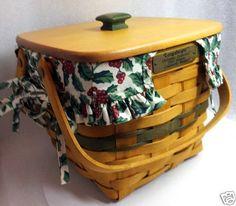 Longaberger Cranberry Basket Green Christmas 1995 Protector Lid Trad Holly Liner