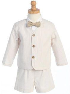 Made in USA-Lito Eton Seersucker Suit w/Jacket, Shorts, Shirt, Bowtie-White w/Khaki Stripes- Large (12-18M) Lito,http://www.amazon.com/dp/B007PKF6SY/ref=cm_sw_r_pi_dp_7a79sb1BTDVF8FBT