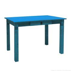 Mesa com 1 gaveta Rústica em Madeira Maciça Azul - Uvim | Lojas KD