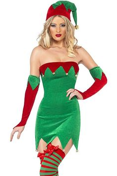 Four Piece Sexy Christmas Elf Costume includes Velour Dress with Jingle Bells, Matching Hat, and Gauntlets.
