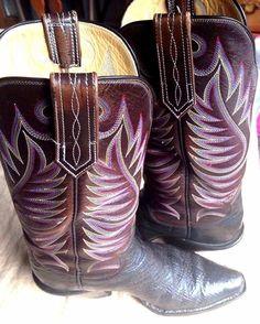 PAUL BOND Handmade Leather Cowboy Western Boots Brown Men's Shark 9.5 #PaulBond #CowboyWestern