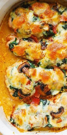 Smothered Baked Chicken with Creamed Spinach, Bacon, Mushrooms – THE BEST WAY TO BAKE boneless, skinless chicken breasts!