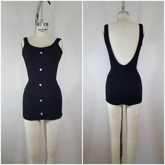 Vintage 1950s Swimsuit / Black Knit One Piece / Styled By Lee Swimplay Suit /  Retro Pinup Swimsuit / XS-Small