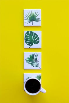 Make DIY tropical leaf coasters for an escape to paradise every morning with a hot cup of coffee. Tropical House Design, Tropical Home Decor, Tropical Interior, Tropical Houses, Tropical Furniture, Coastal Decor, Tropical Kitchen, Ideas Prácticas, Room Ideas