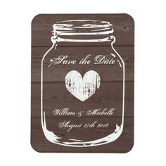 Wood country chic mason jar Save the date magnet
