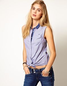 Pepe Jeans 50s' Tie Front Blouse