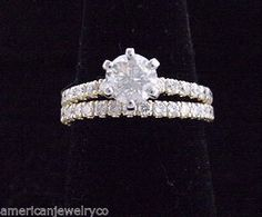 Diamond Wedding Ring Set Round 1.81ct TOTAL in Solid 14K Yellow Gold  Love! But would want white gold or platinum
