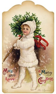 Let's all be Jolly! ~ gift tag, little girl with topiary